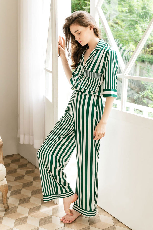 Lisette Green 3-Piece Pajama Set (Shirt & 2 Bottoms)