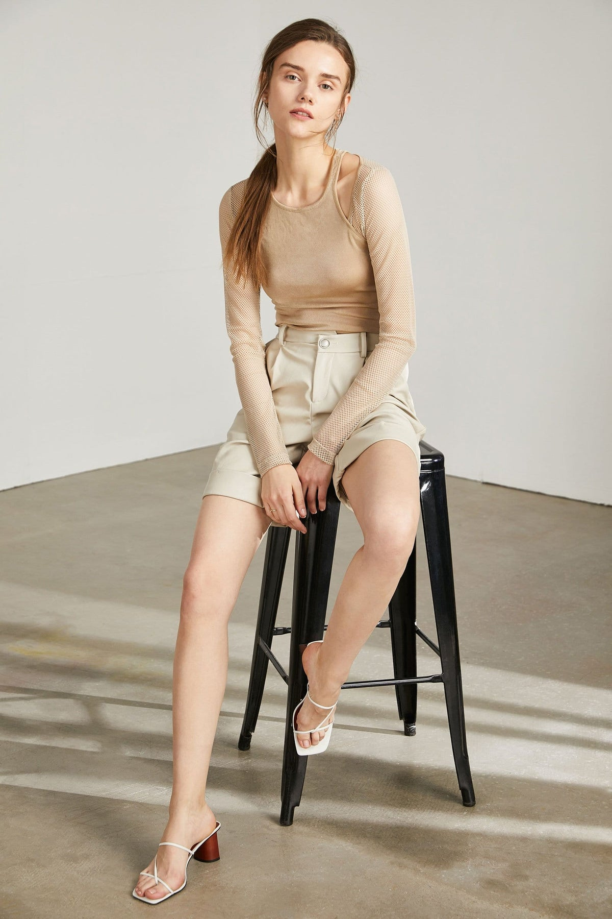Venus Tan Sheer Cut-Out Top
