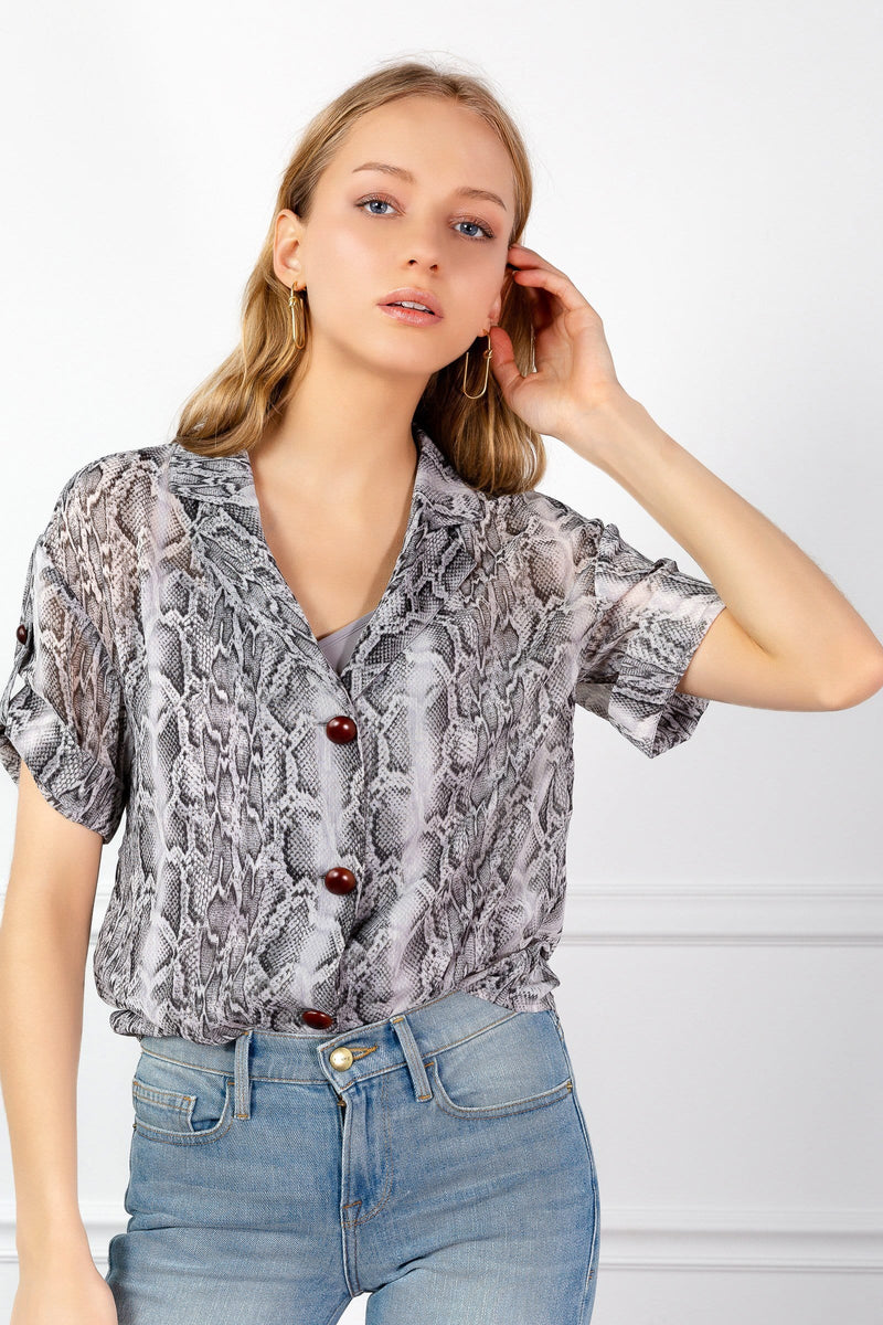 Sheer Fashion Snakeskin Pattern Print Shirt by J.ING