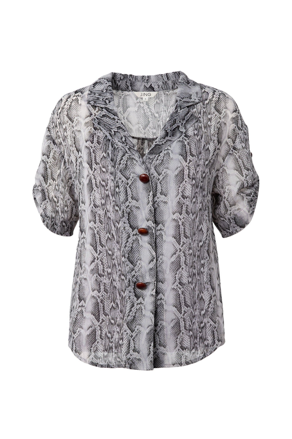 Snakeskin womens button up shirt by j.ing