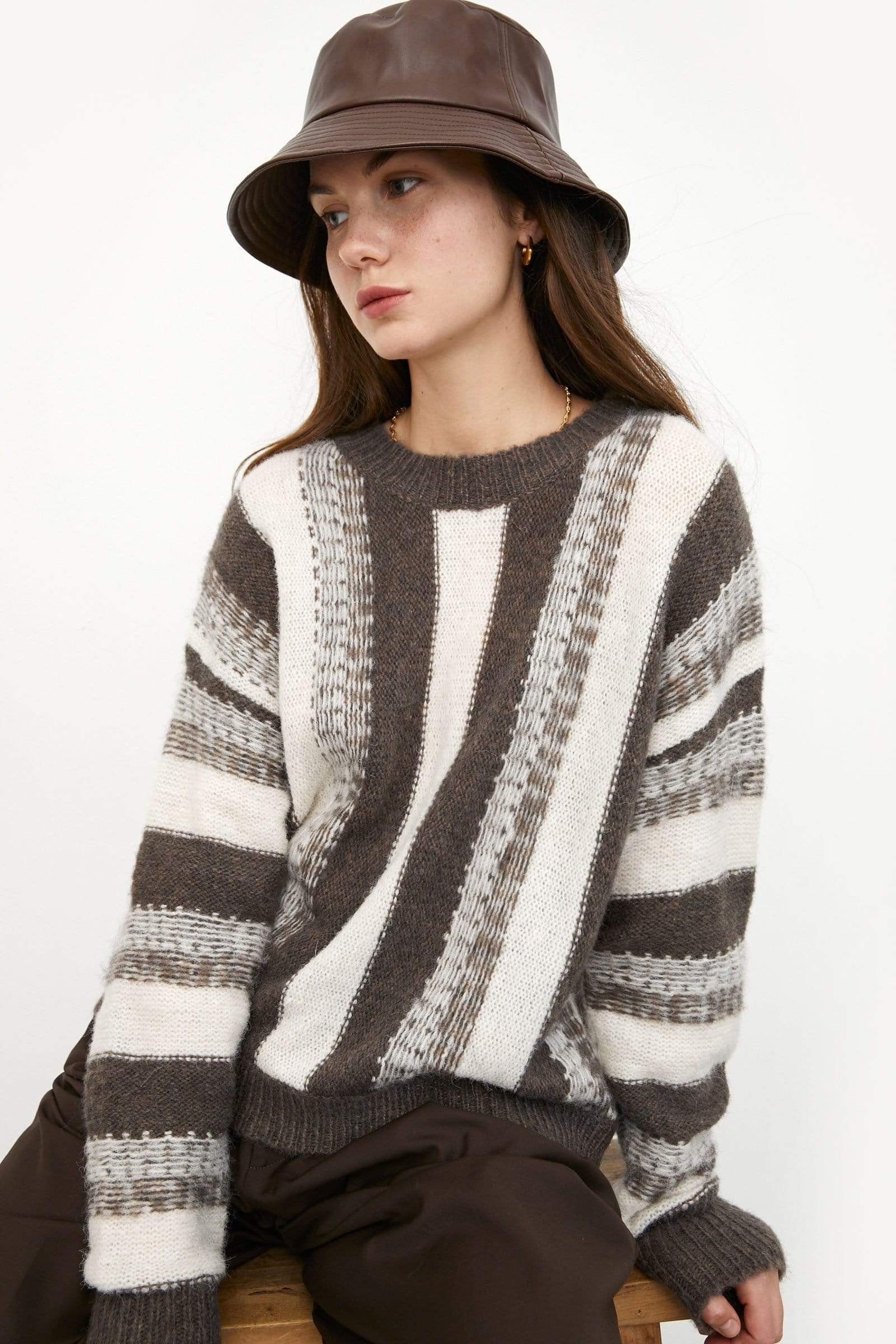 Vanya Brown Striped Sweater