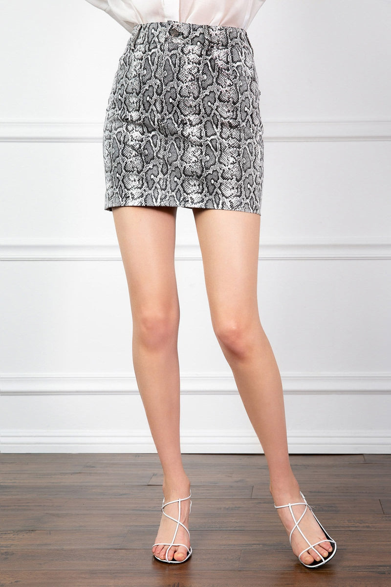 Short Skirt with Snakeskin Print in grey by J.ing