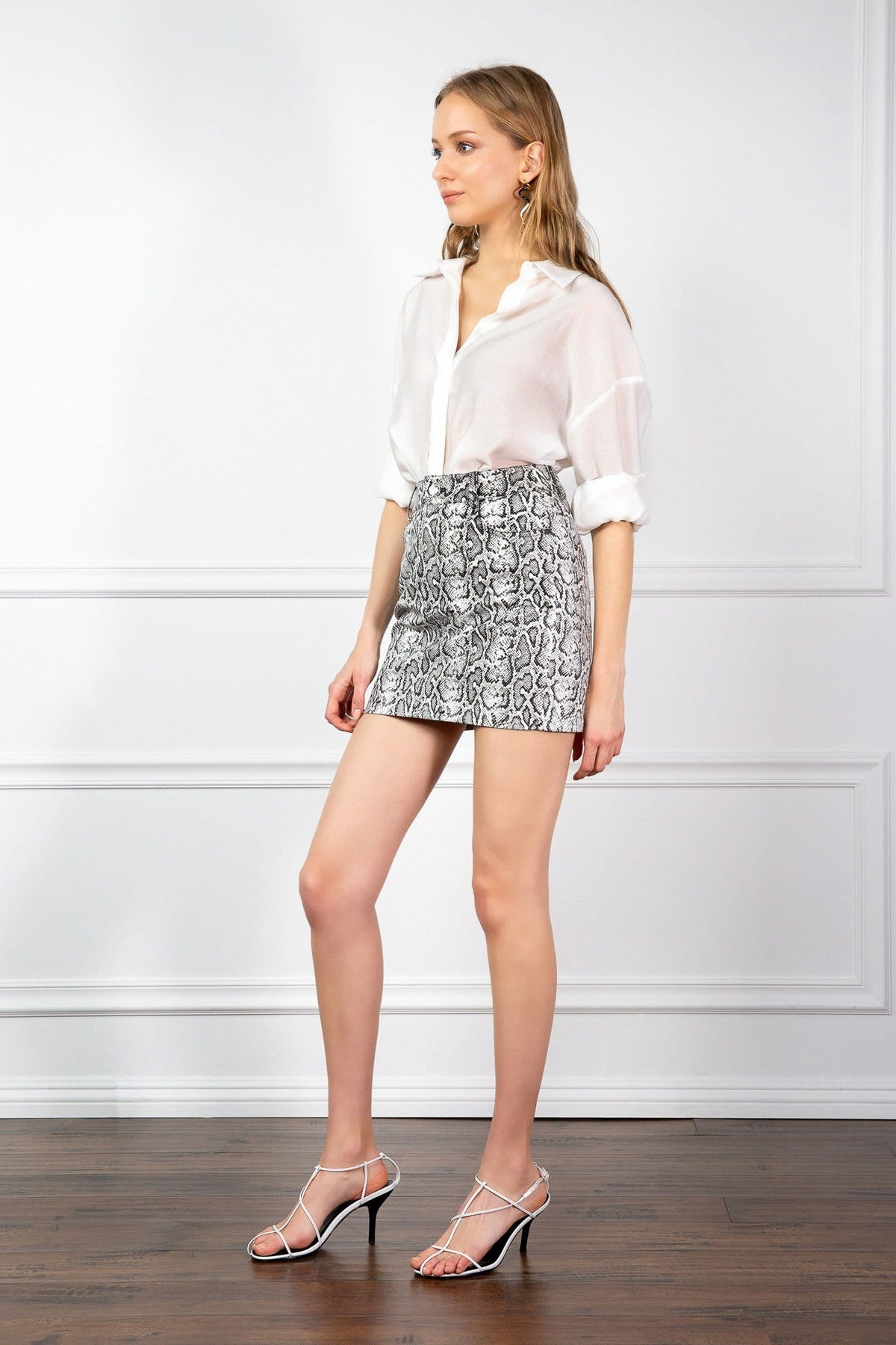 Grey Snake Print Mini Skirt by J.ING US fashion