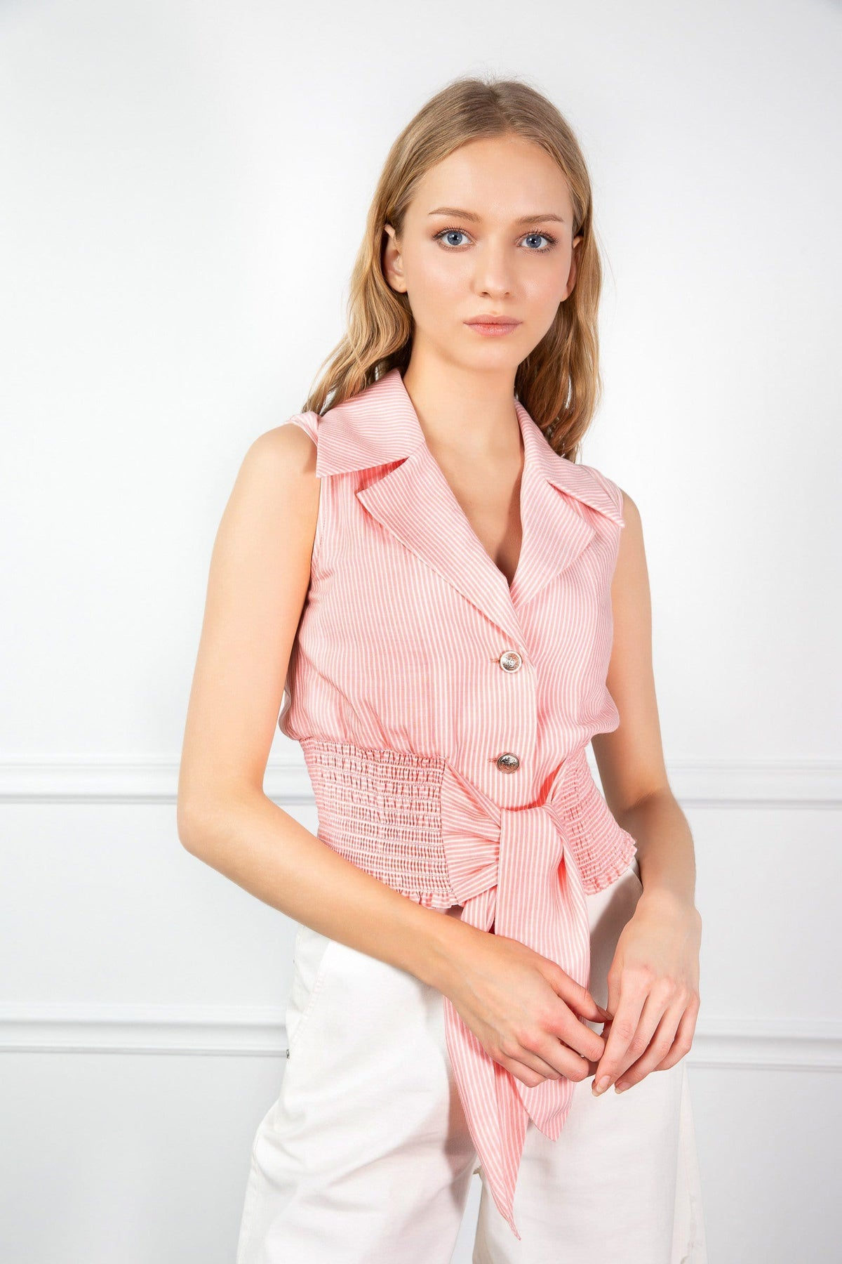 Pink Sleeveless Vest Waist Tied Top | J.ING Women's Apparel