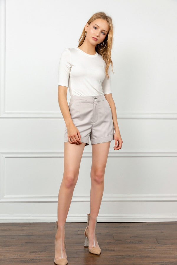 LIght Beige High Waisted Shorts | J.ING Women's Shorts