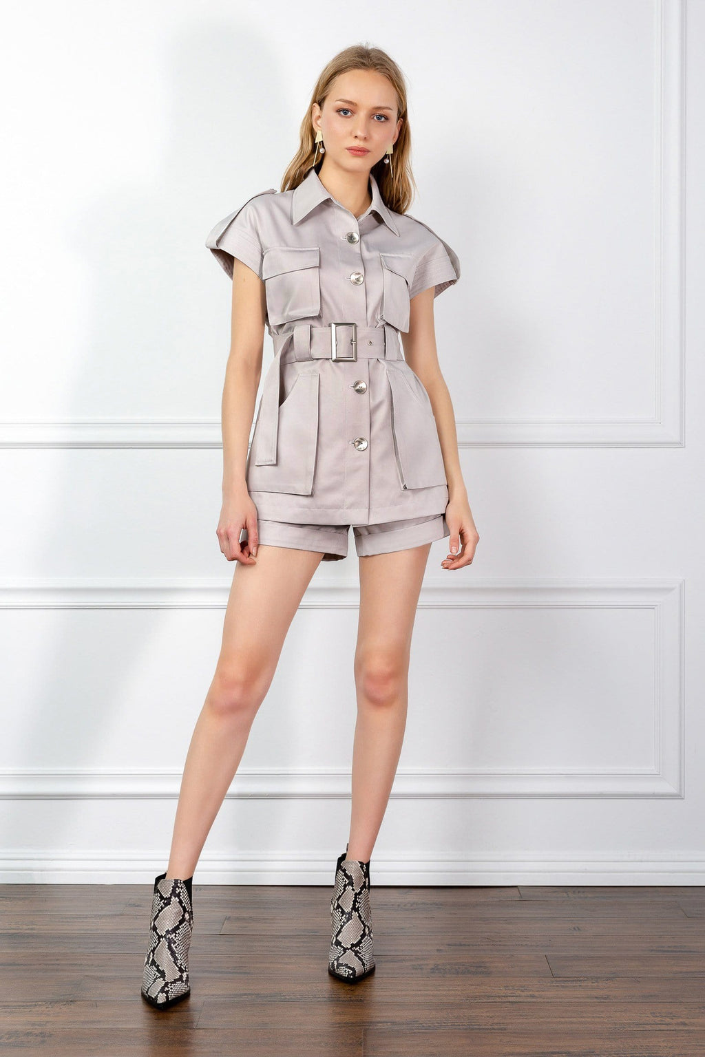 beige belted utility shirt by J.ING
