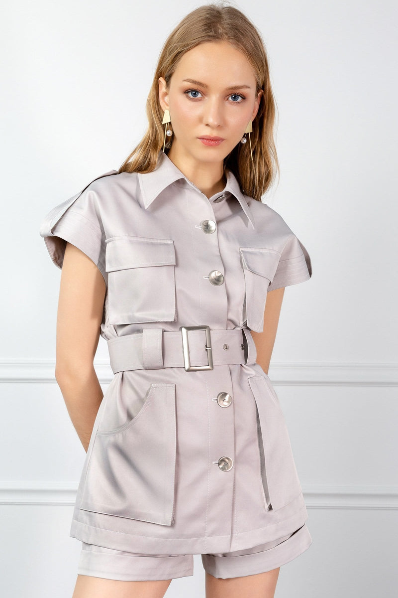 girl in utility shirt with belted waist by j.ing