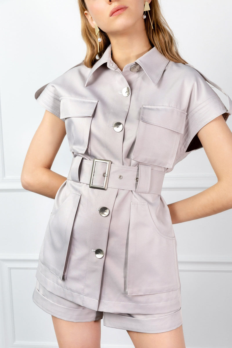 tan belted utility shirt by j.ing