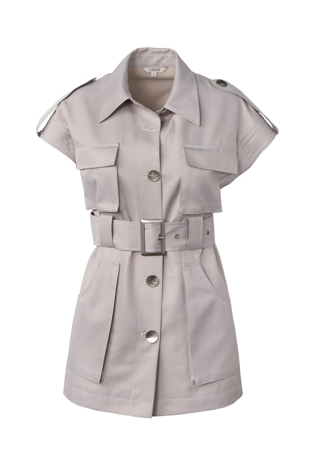 utility style shirt dress with belted waist by J.ING