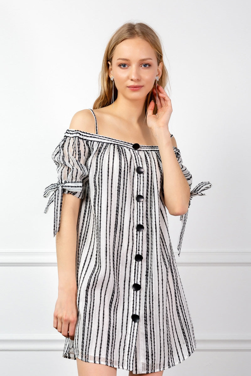 Off the shoudler striped summer dress with buttons | J.ING Women's apparel
