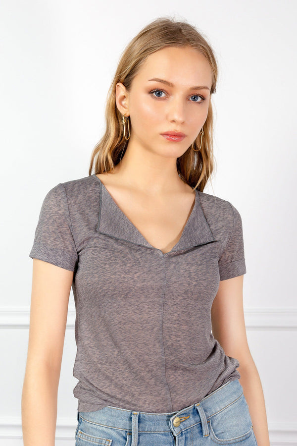 Grey Knitted short sleeve top by j.ing women's clothing