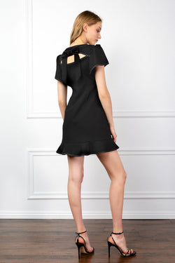 Black Petal Sleeve A-Line Dress with Peek-a-boo cutout | J.ING Women's Dresses