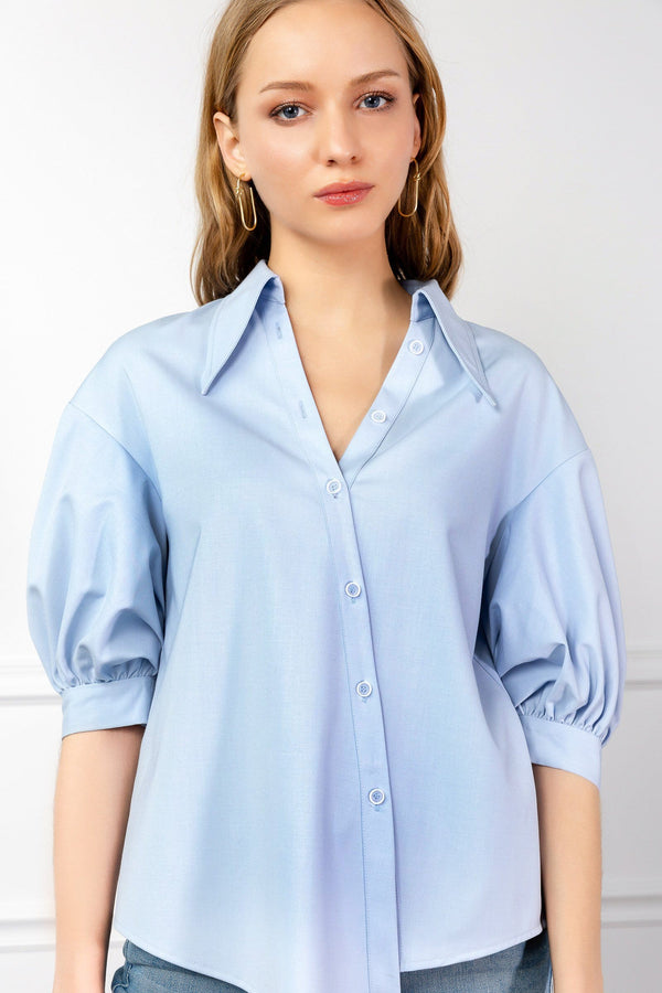 Baby Blue Notched Collar Blouse | J.ING Women's Tops