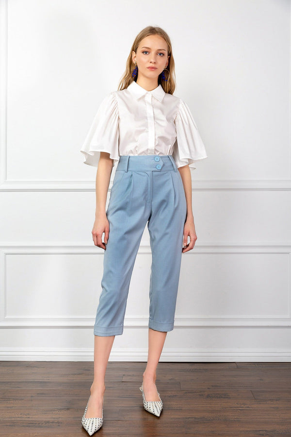 Light Blue Ankle Cropped Capri Pants | J.ING Women's Pants