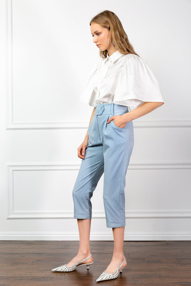 Cisley Blue Ankle Cropped Pants