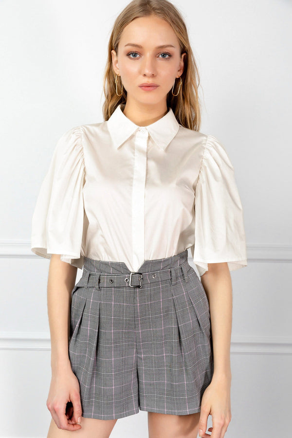 White Wide Sleeve Button Up Blouse | J.ING Women's Apparel
