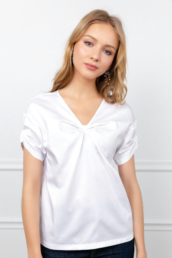 White Basic Short Sleeve Top with V-Neck Collar | J.ING Women's Tops