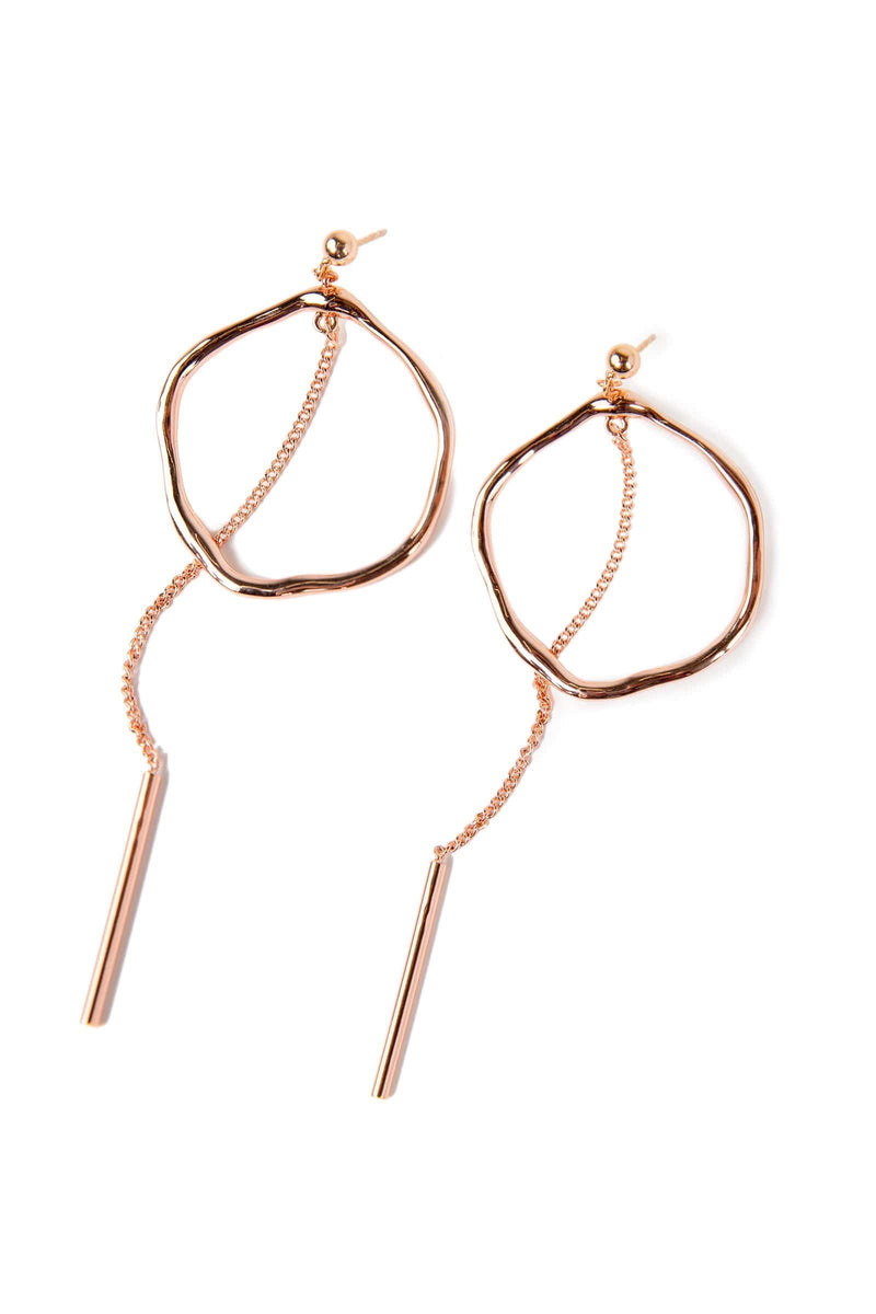 Rose gold circle earrings with drop down tassel and zircon crystals | J.ING women's accessories