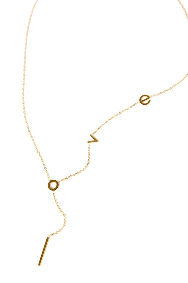 Gold colored necklace that spells out love | J.ing women's accessories
