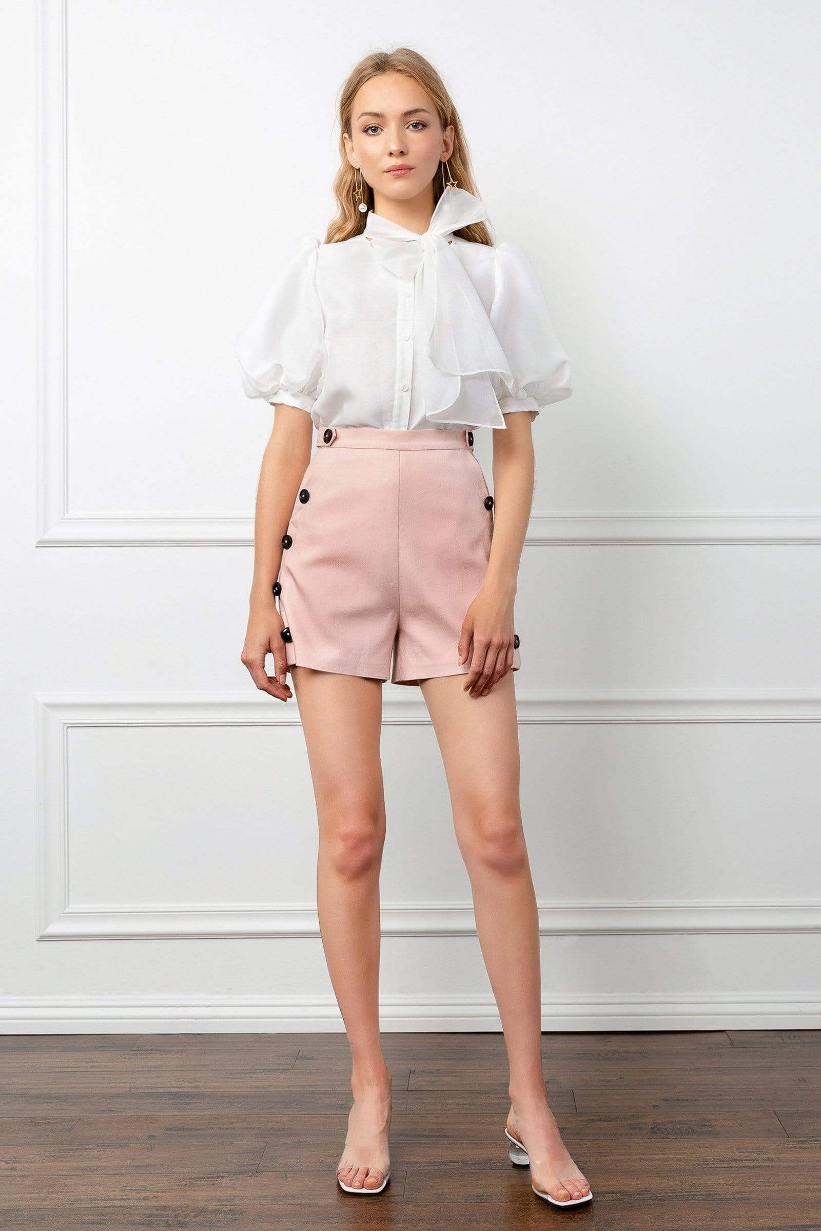 Silky Pink High Waist Shorts with Button Details | J.ING women's shorts