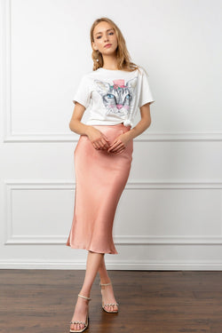 Light Pink Silky Bias Cut Midi Skirt | J.ING Women's Apparel