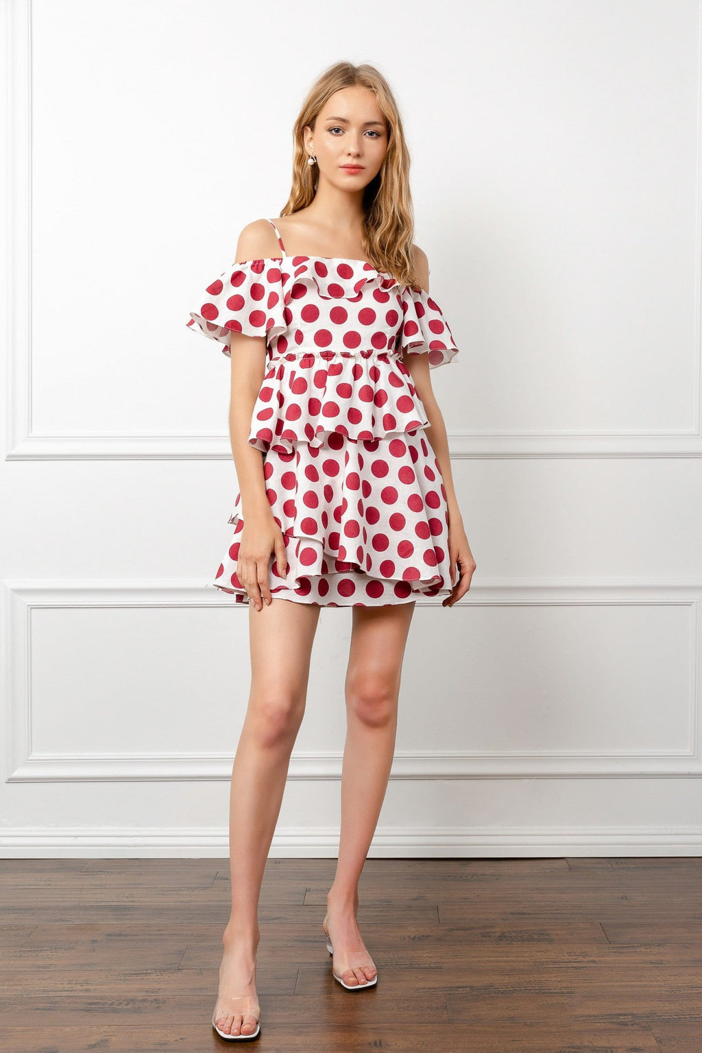 White and Red Polka Dot Ruffle Mini Dress | J.ING women's apparel