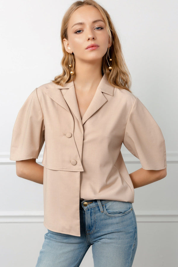 Beige Half Sleeve Button Up Shirt by J.ing women's clothing