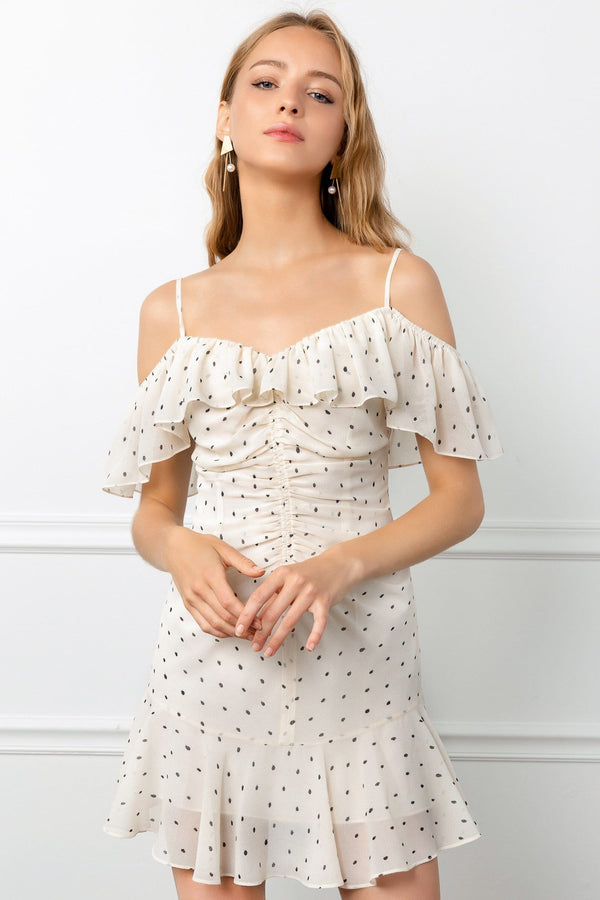 White Ruffled Off the Shoulder Ruched Polka Dot Mini Dress | J.ING Women's Dresses