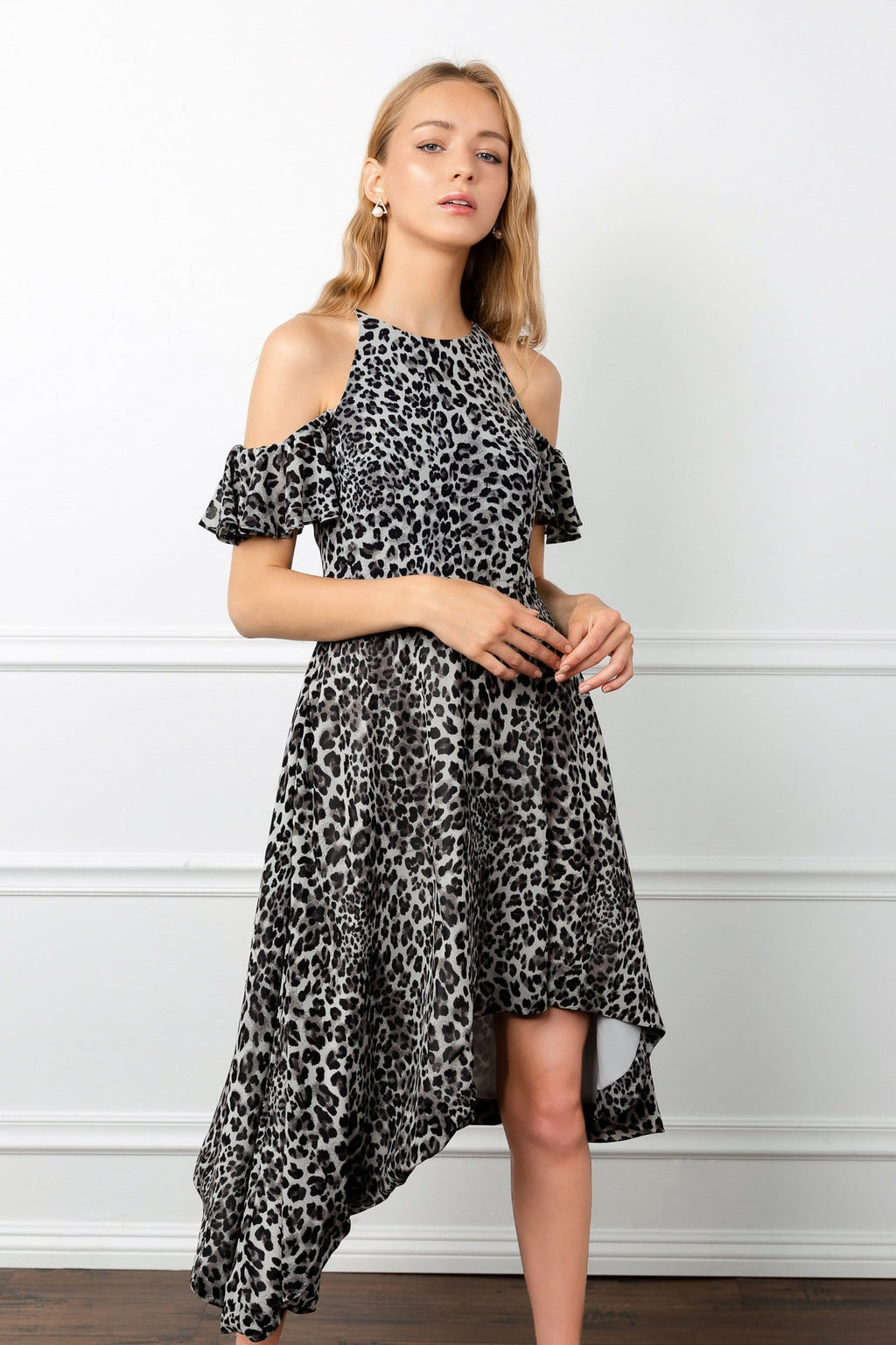Asymmetrical leopard midi dress sheer women fashion by J.ING