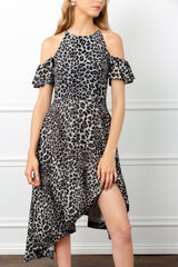 halter leopard dress asymmetrical sheer flowy for women by j.ing