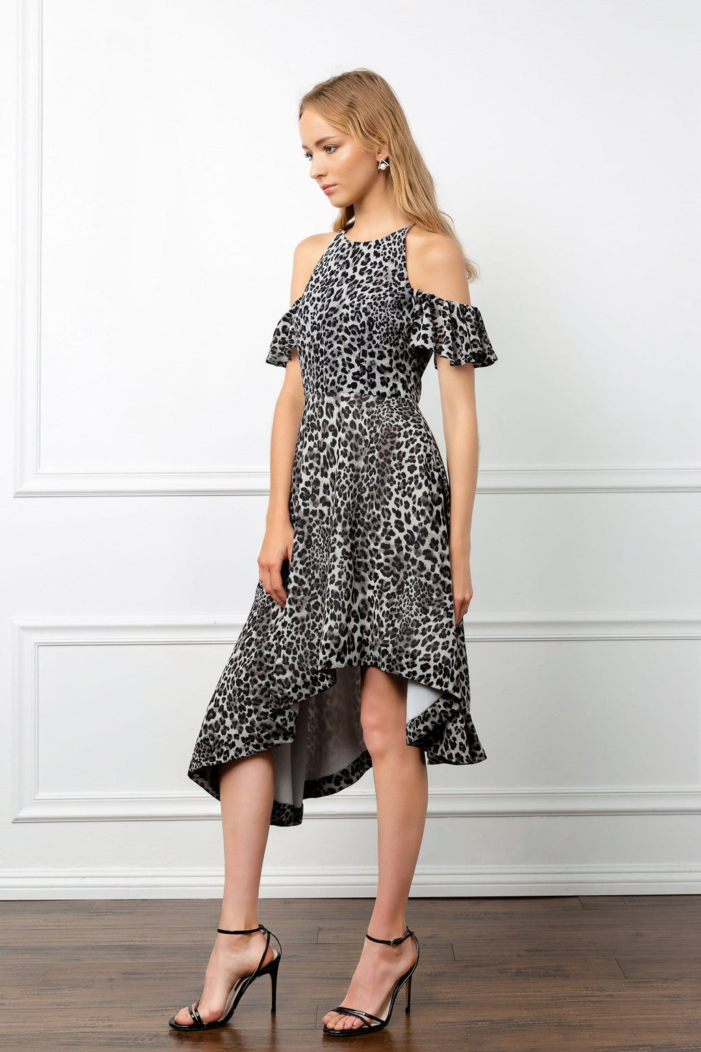 Profile view of Snow Leopard dress with dropped shoulders j.ing, womens fashion