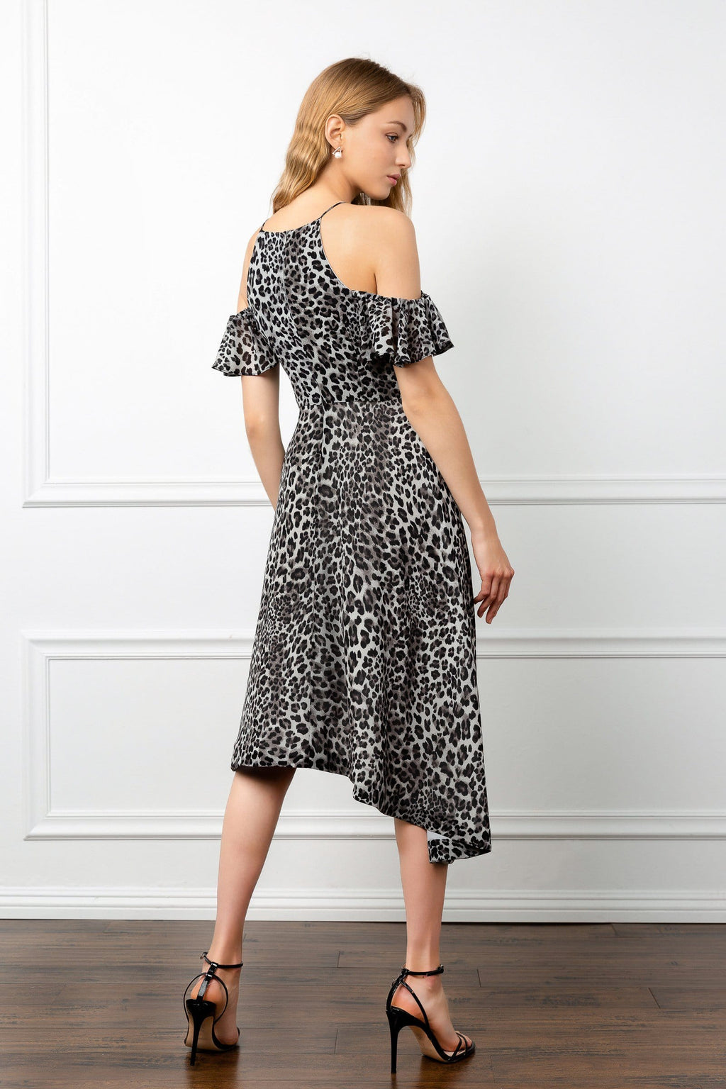 j.ing snow leopard dress asymmetrical hemline womens sheer dresses