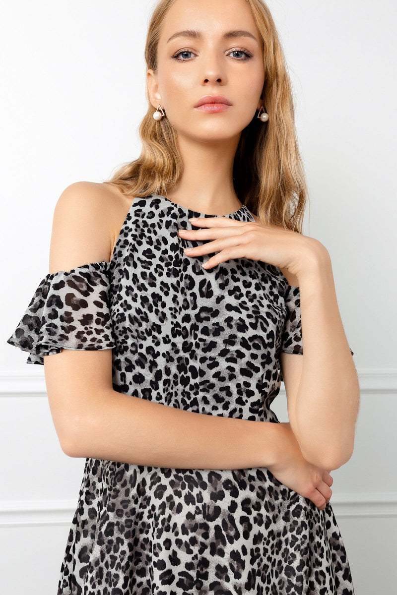 cold shoulder cut-outs leopard dress