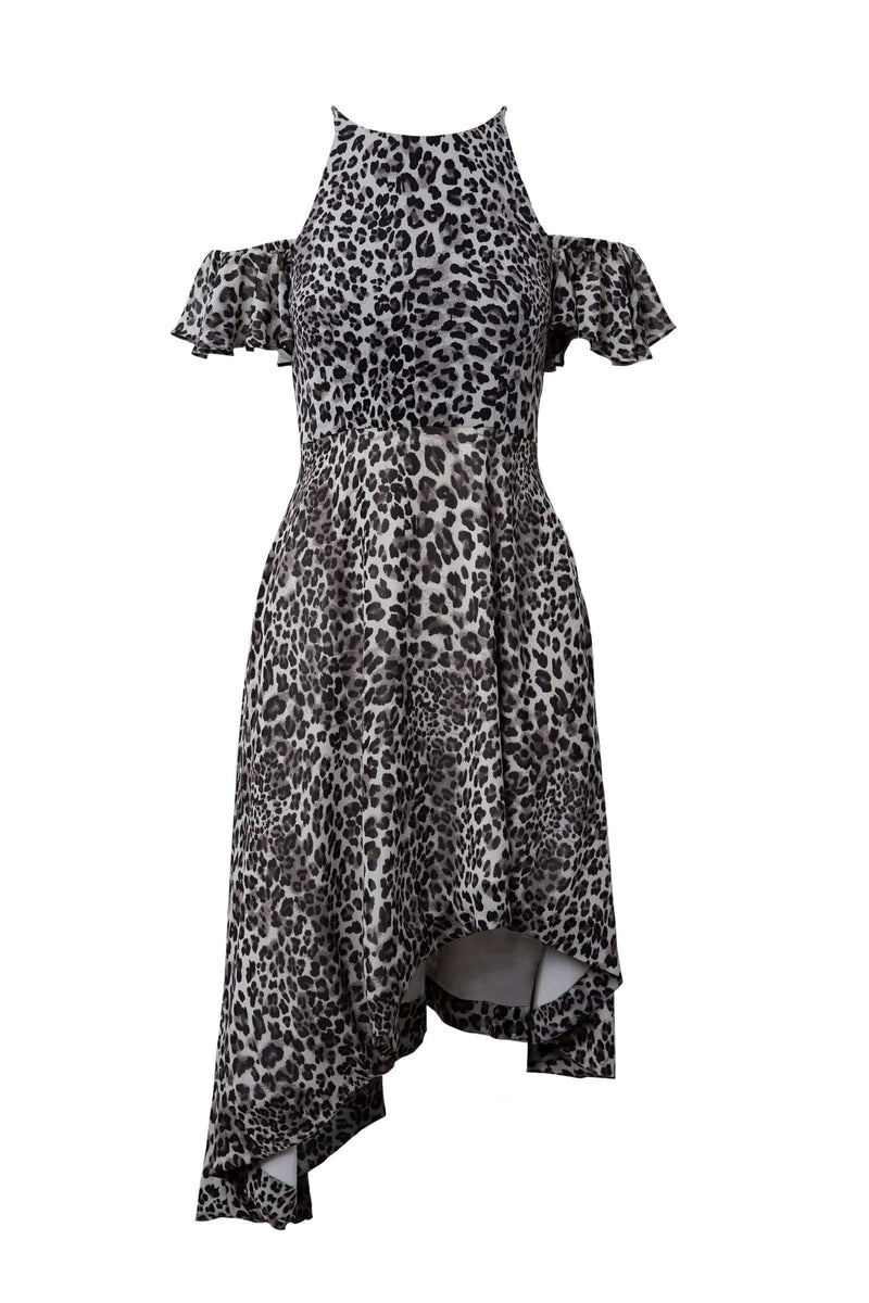 off-the-shoulder leopard dress  by j.ing