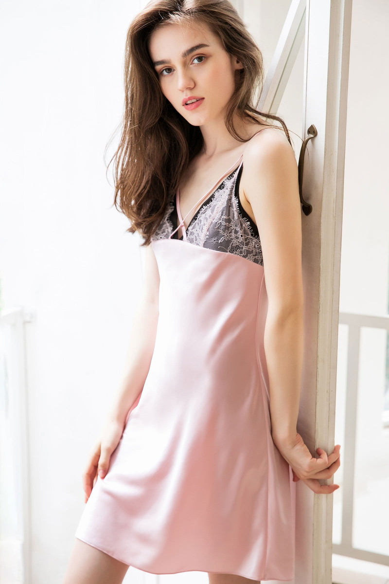Eclair Pink Lace Overlay Slip