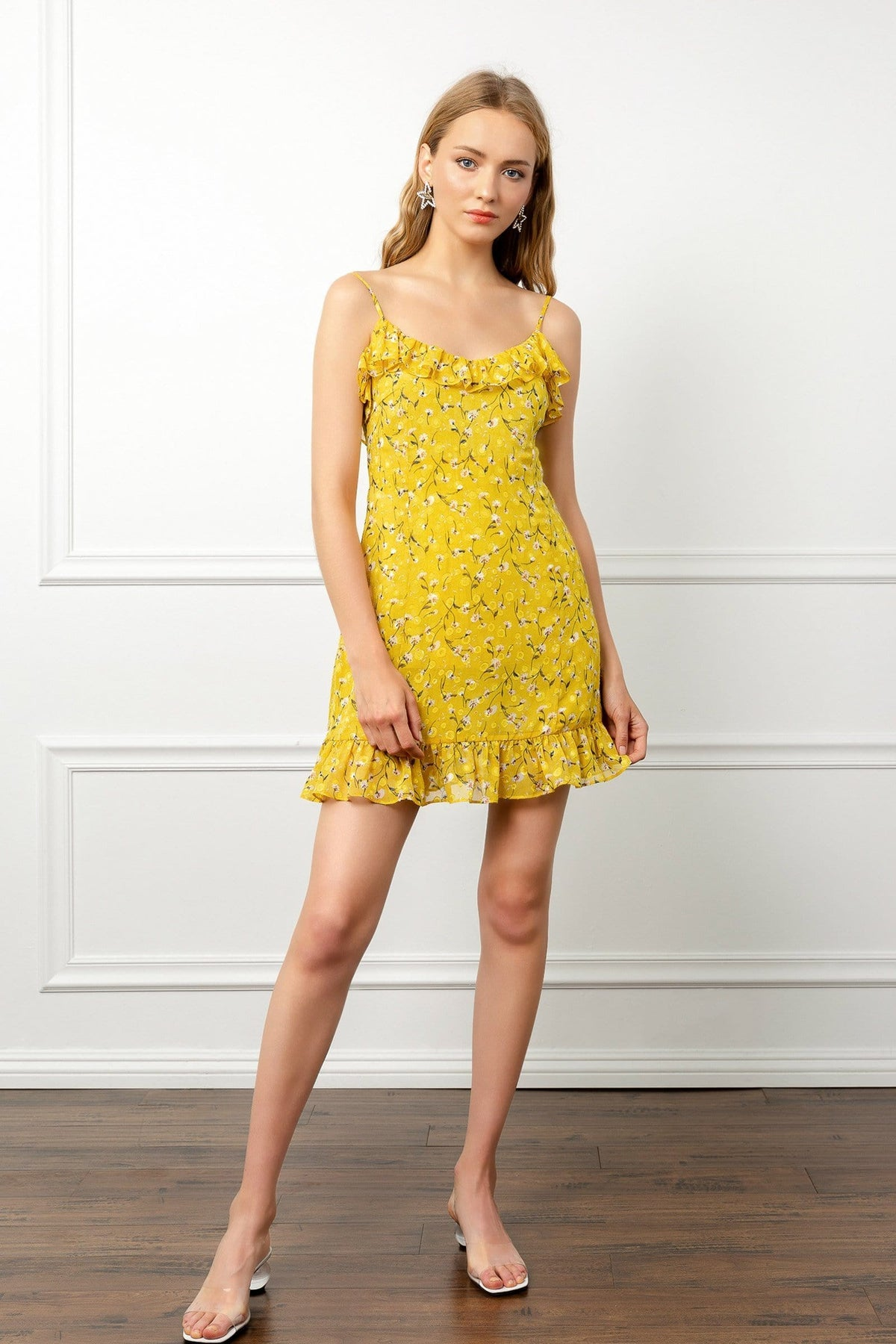 Bright Yellow Floral Ruffle Mini Party Dress | J.ING Women's Dresses