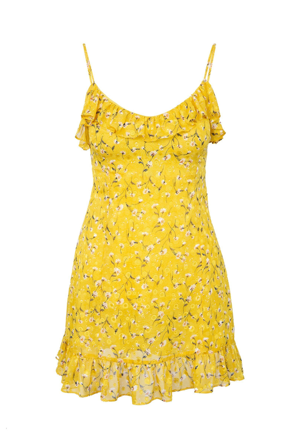 Yellow Summer Dress with Floral Print & Ruffled Hem by J.ING women's apparel