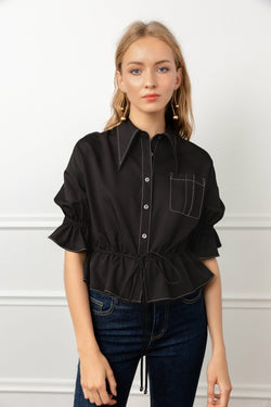 Black Blouse with Pointed Collar & Contrast Piping | J.ING women's apparel