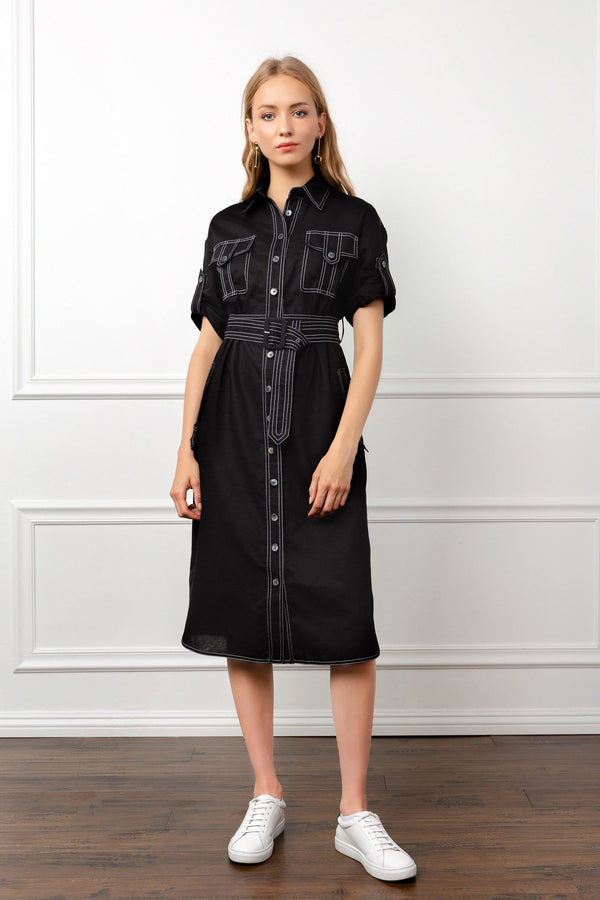 Black Utility Shirt Midi Dress with Contrast Piping | J.ING women's apparel