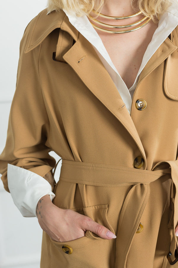 Brigitte Camel Trench Coat in Coats & Jackets by J.ING - an L.A based women's fashion line