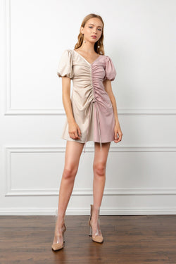 Beige and Mauve Split Color Dress with Balloon Sleeves | J.ING Women's Dresses