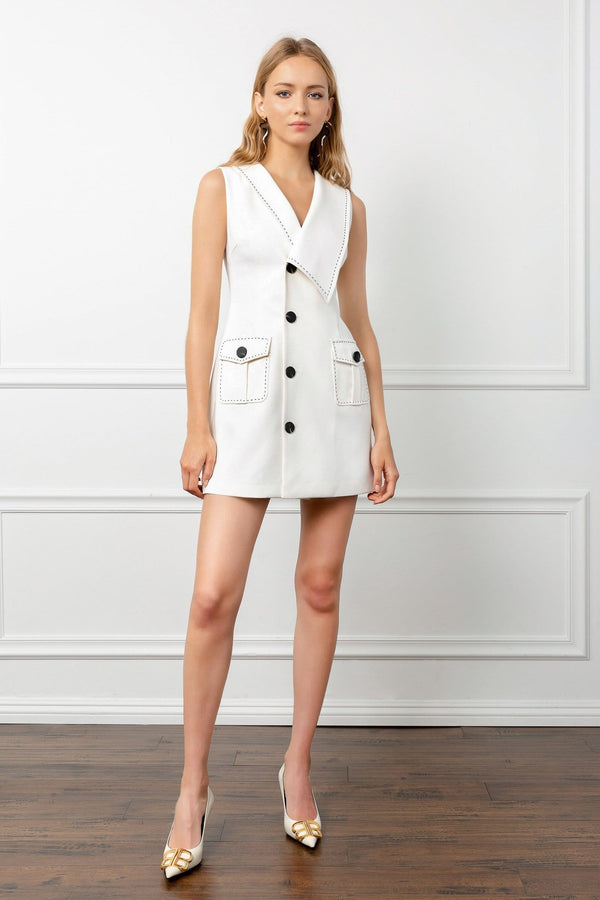 White Sleeveless Vest Button-Up Dress | J.ING Women's Dresses