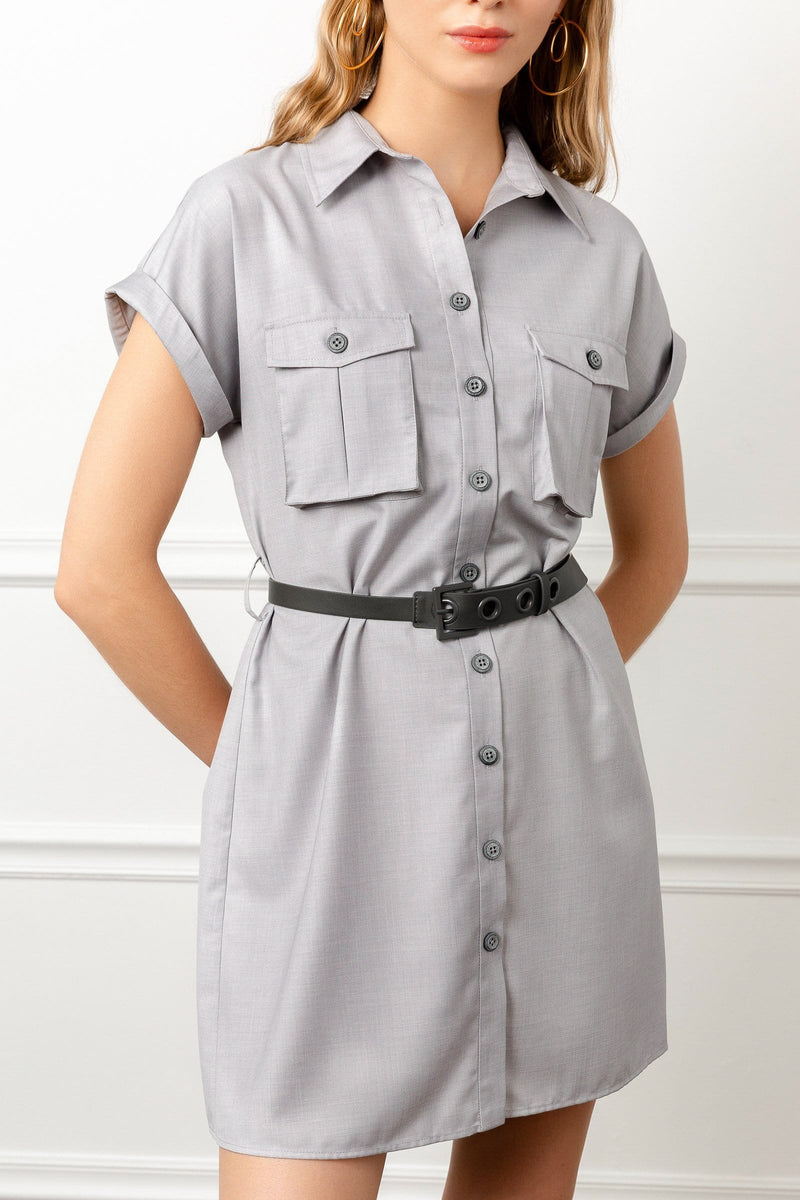 Short Utility-style shirt dress with belt and short sleeves by j.ing