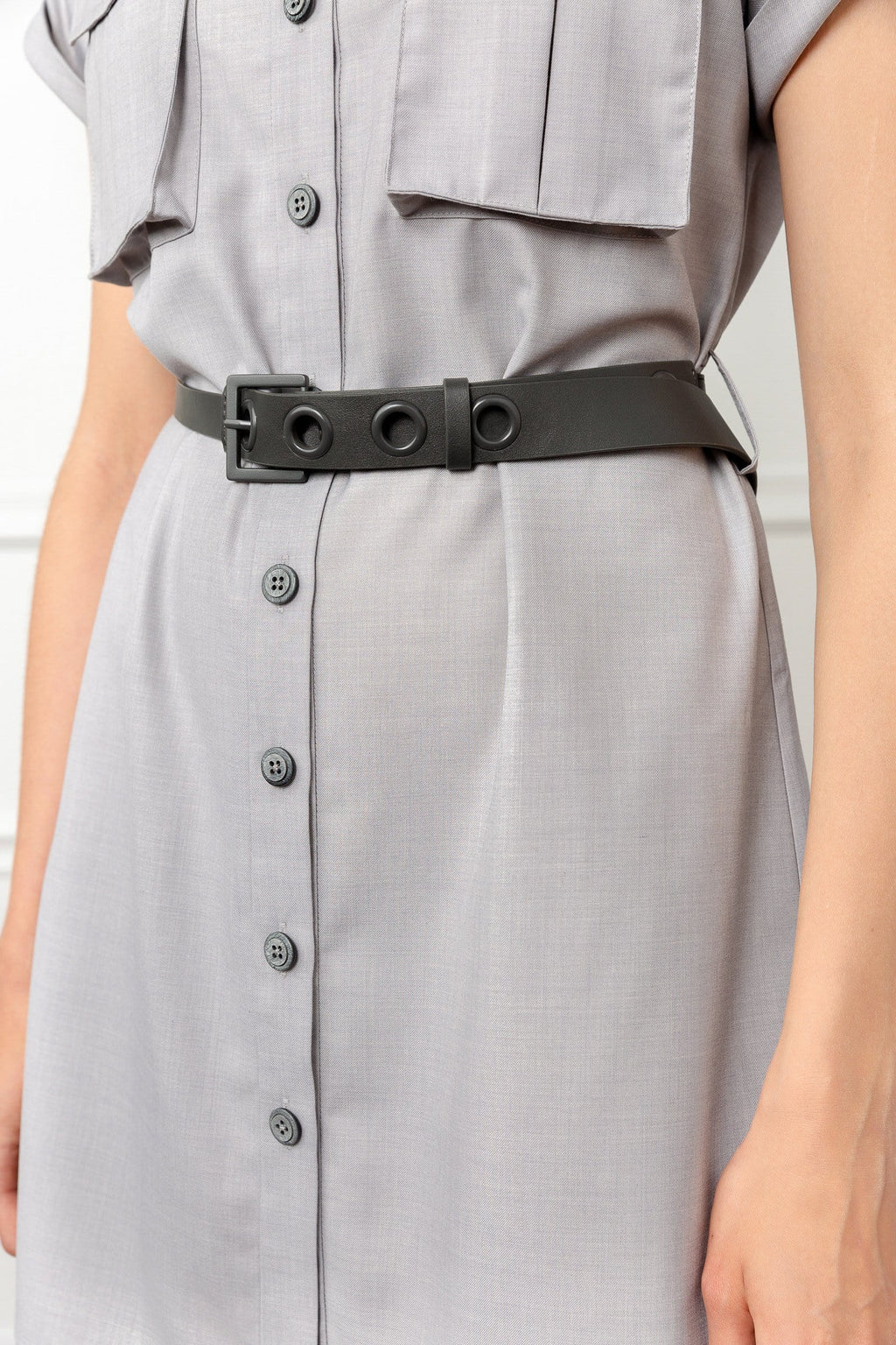 Grey utility shirt dress with black belt by J.ING