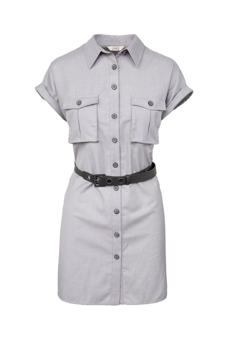 Grey button up utility dress shirt with belted waist by J.ING