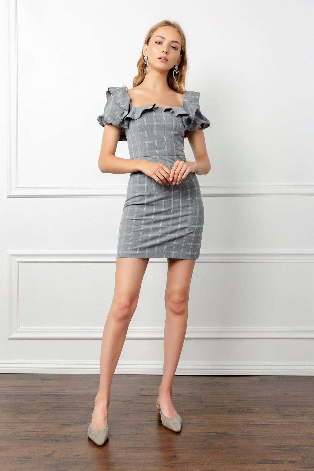 Grey Plaid Mini Dress with Square neckline and puff sleeves | J.ING women's apparel