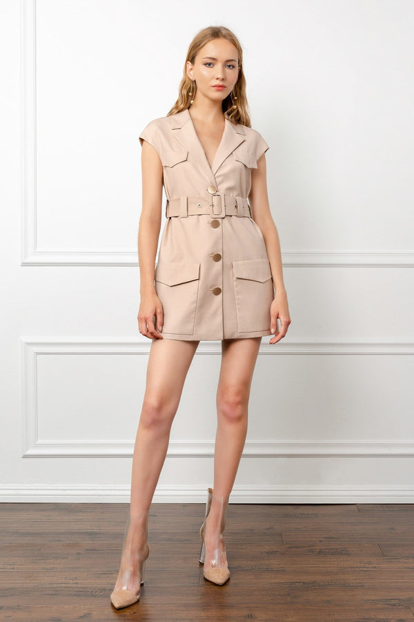Tan Utility Cap Sleeve Mini Dress | J.ING Women's Apparel