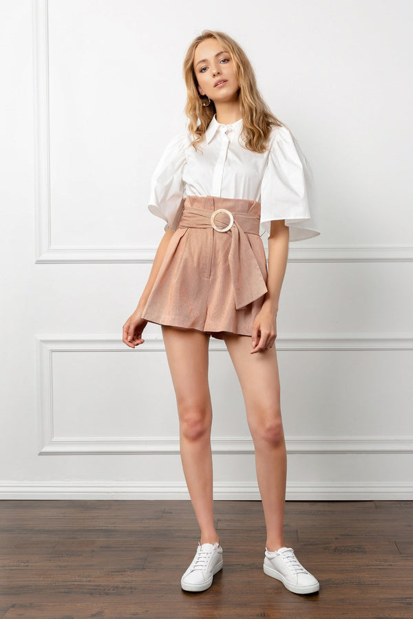 Light Pink Belted Pleated Shorts | J.ING Women's Clothing