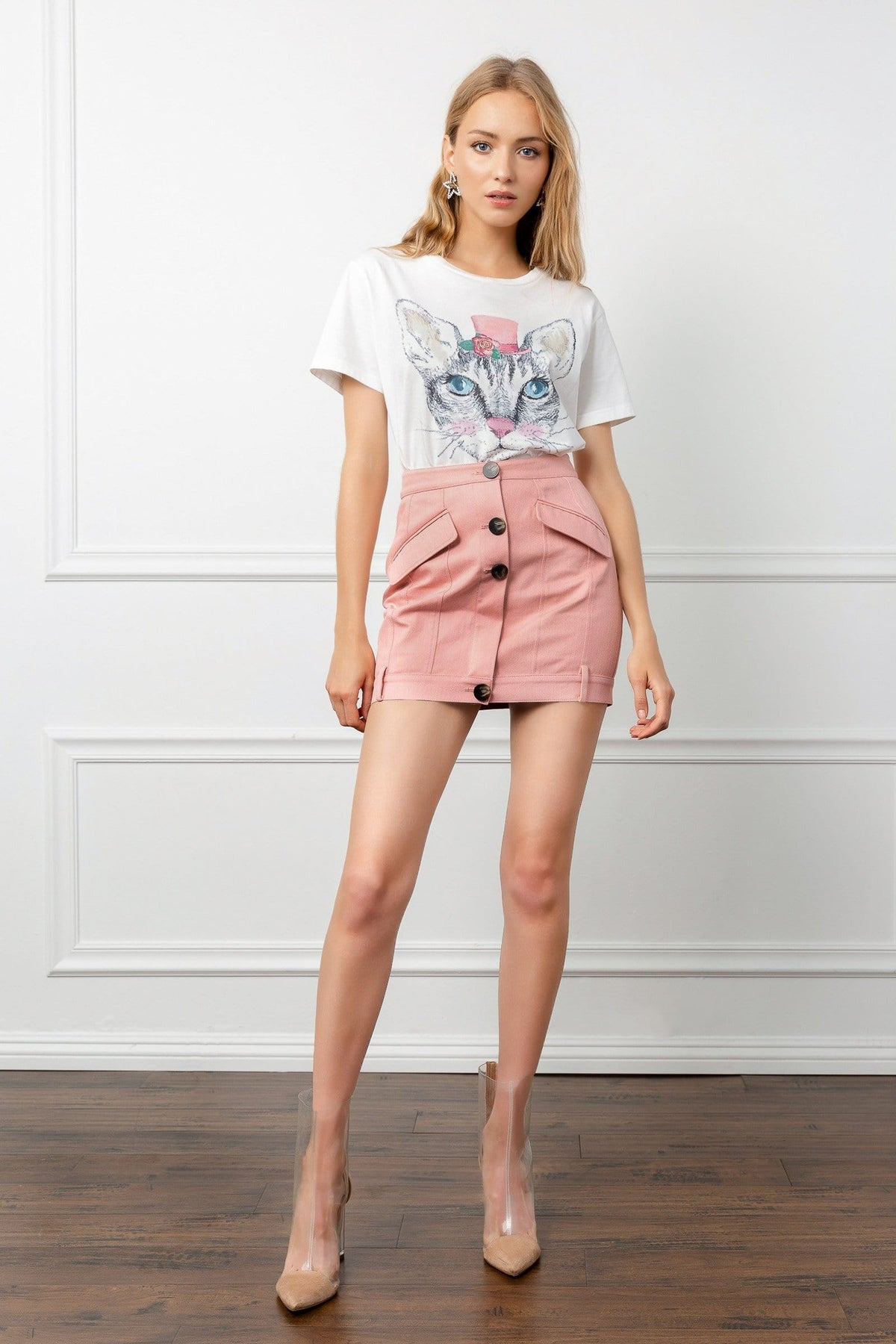 Light Pink High Waist Button Mini Skirt | J.ING Women's Apparel