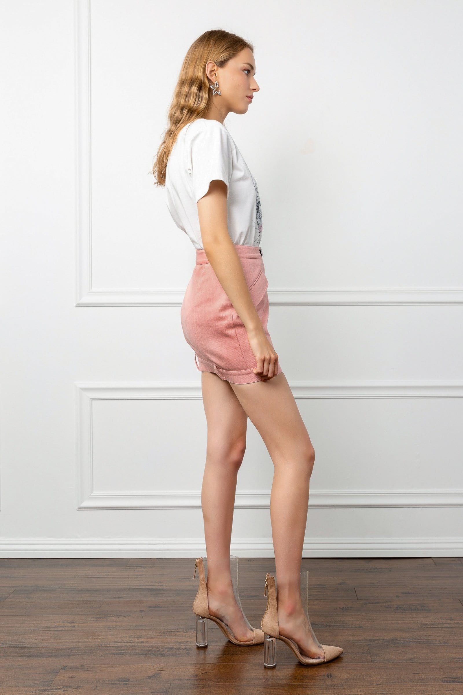 Pink Button Mini Skirt